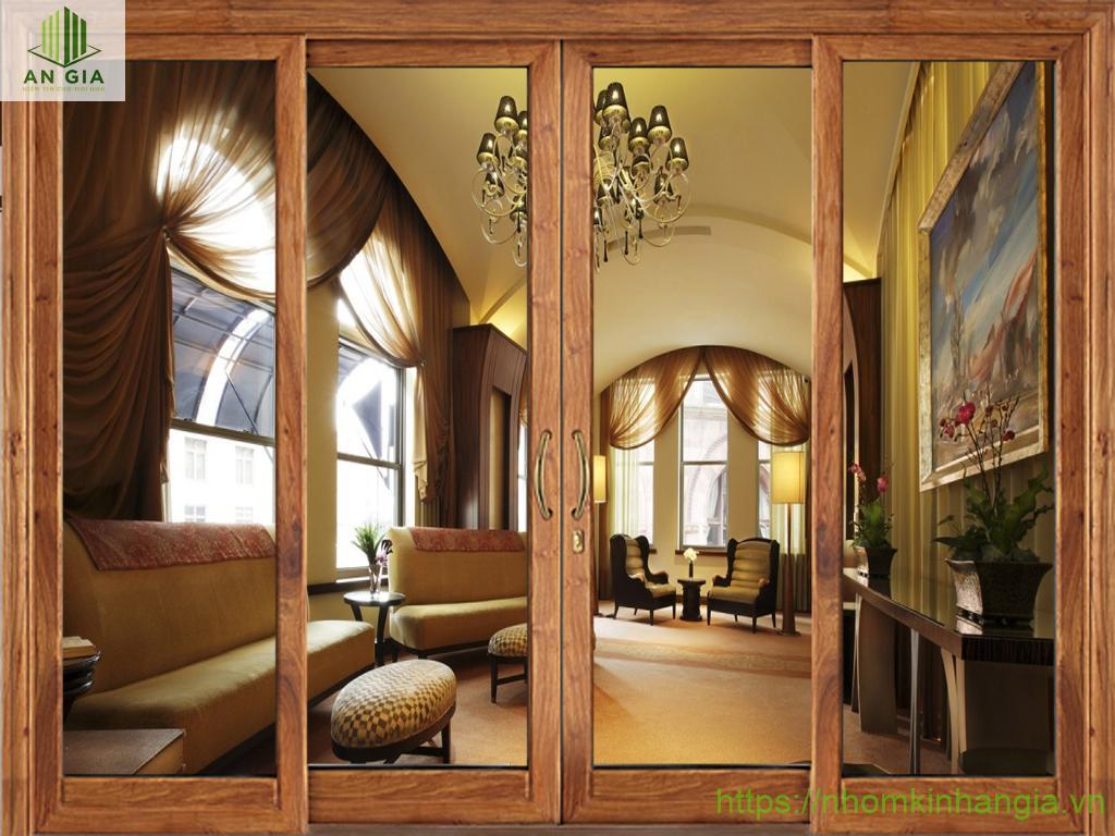 Cửa kính cường lực khung gỗ sang trọng