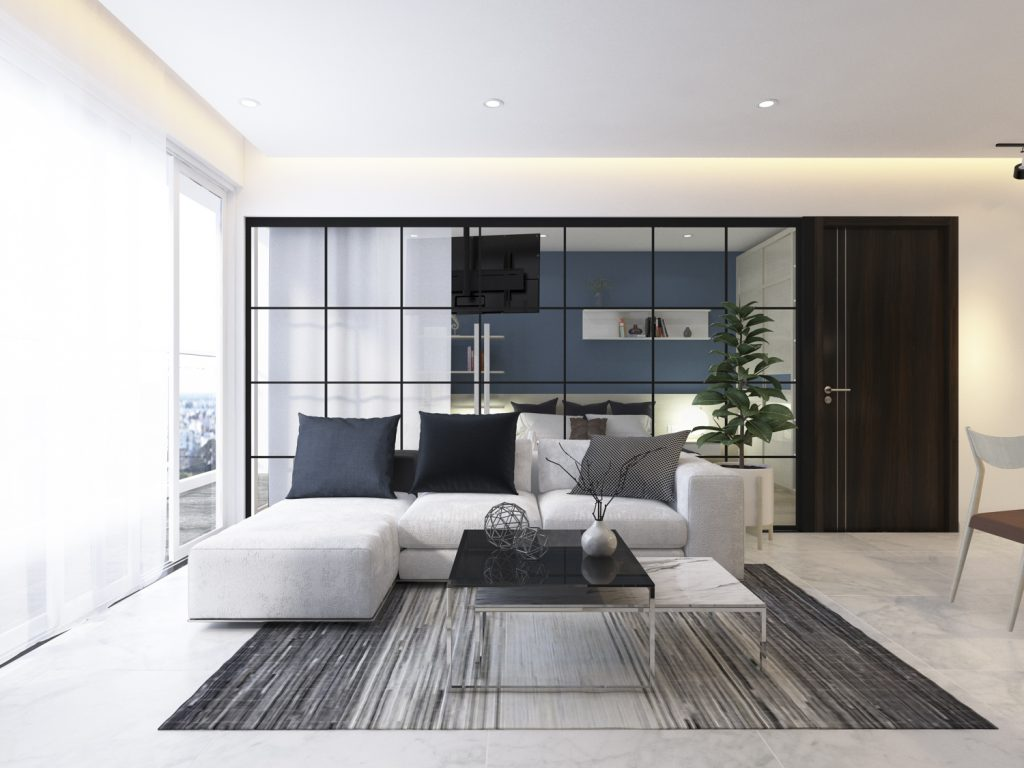 Vách kính ngăn phòng khách đem đến giải pháp nội thất tuyệt vời