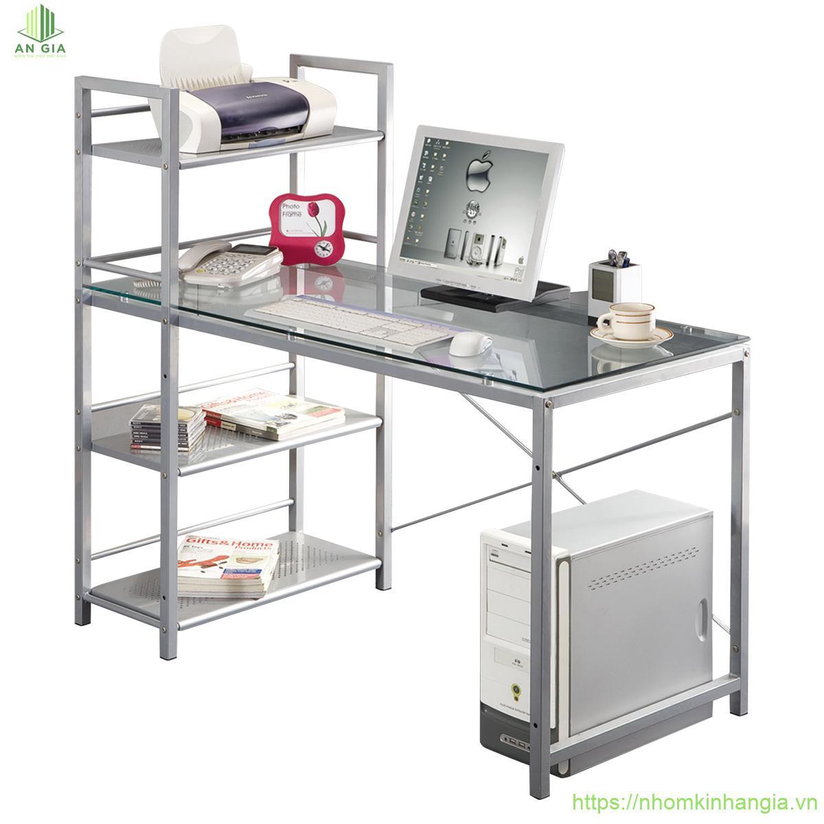 Mẫu 11: Thiết kế của bàn khá độc đáo được gắn kèm theo một chiếc tủ đựng giấy tờ tạo sự thuận tiện cho nhân viên văn phòng