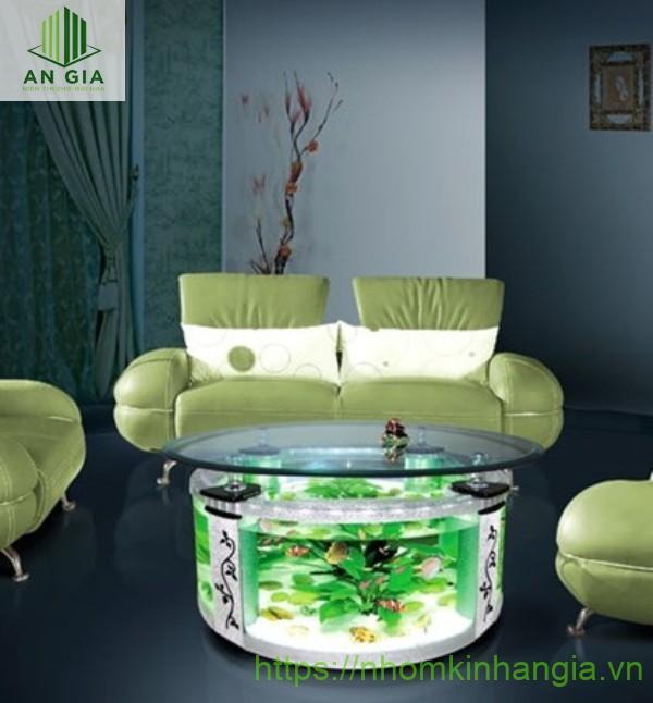 Mẫu 7: Dạng cấu trúc hình tròn của bàn cùng kích thước nhỏ phù hợp với không gian phòng khách hẹp