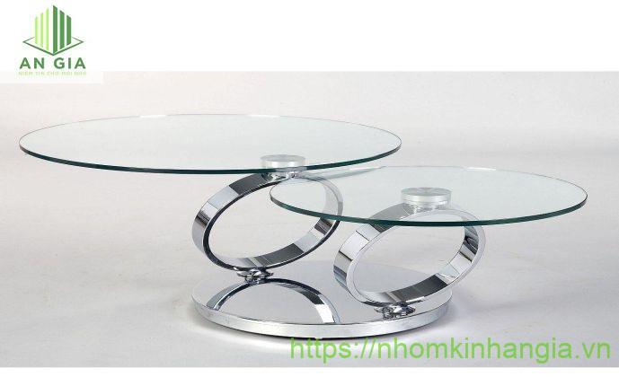Mẫu 16: 2 tấm kính cường lực dạng tròn với phần chân trụ được thiết kế như hình chiếc nhẫn nâng đỡ từng tấm kính