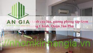 công trình vách kính cửa lùa, gương phòng tập Gym 491 Trường Chinh, Quận Tân Phú