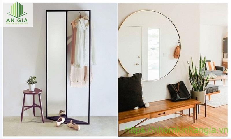 Mẫu 4: Gương được thiết kế với 2 dạng chính là chữ V và dạng tròn được đặt dưới sàn hay treo tường đều phù hợp