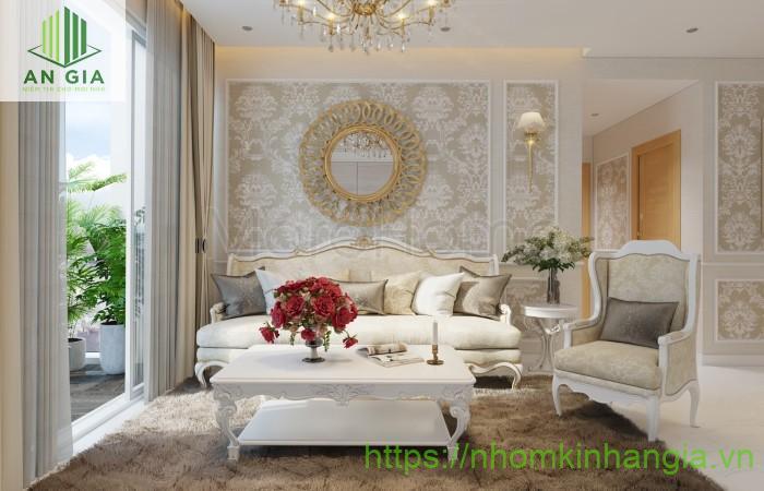Mẫu 6: Gương trang trí phòng khách với họa tiết độc đáo tạo điểm nhấn nổi bật cho toàn bộ không gian căn phòng